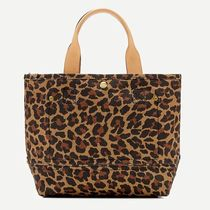 J Crew Leopard Patterns Casual Style Canvas Elegant Style Totes