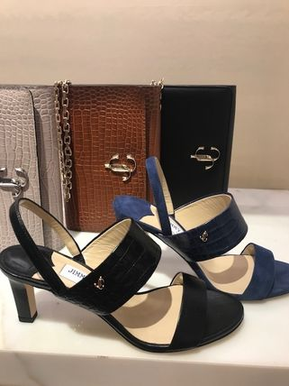Jimmy Choo Open Toe Casual Style Suede Other Animal Patterns Leather