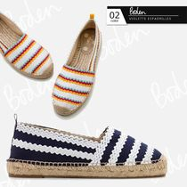 Boden Stripes Round Toe Casual Style Elegant Style Flats
