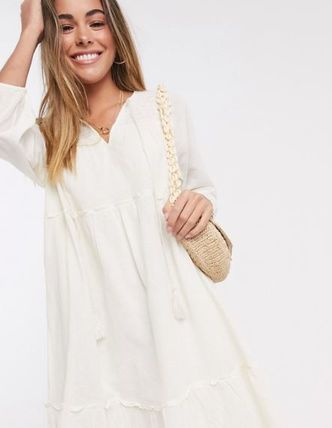 Casual Style V-Neck Long Sleeves Cotton Medium Dresses