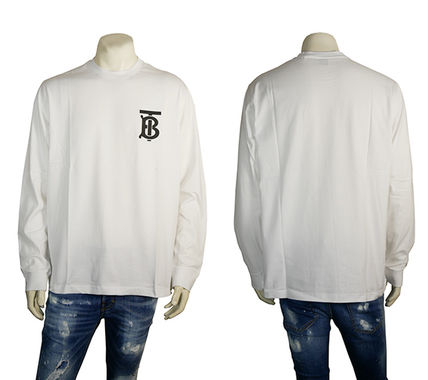 Burberry Long Sleeve Crew Neck Pullovers Street Style Long Sleeves Cotton 2