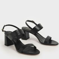 Charles&Keith Casual Style Faux Fur Plain Elegant Style Heeled Sandals