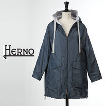 HERNO Monogram Casual Style Nylon Plain Medium Oversized Raincoat