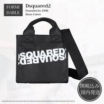 D SQUARED2 Casual Style Bi-color Leather Crossbody Logo Totes