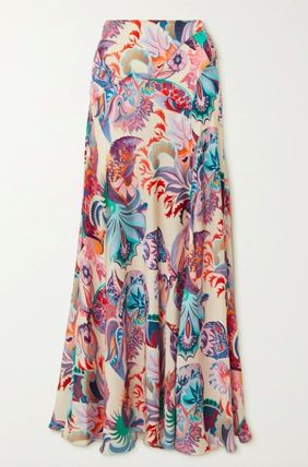 Flared Skirts Casual Style Maxi Long Party Style