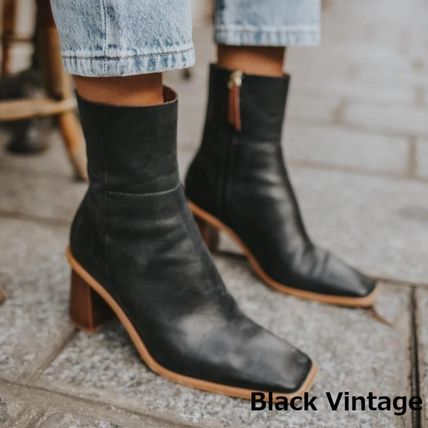 Square Toe Casual Style Leather Block Heels Elegant Style