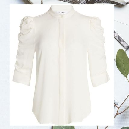 Casual Style Silk Long Sleeves Plain Medium Party Style