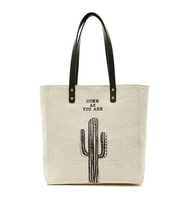 Casual Style Blended Fabrics Street Style Plain Logo Totes