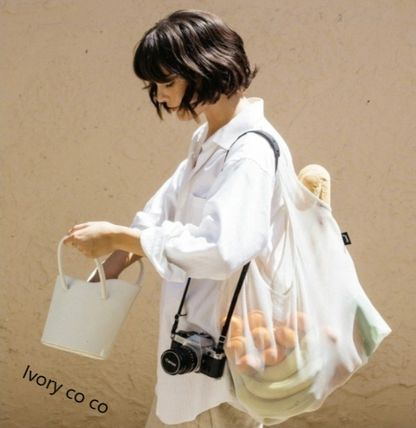 Casual Style Unisex Plain Crystal Clear Bags Totes