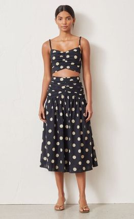 Flared Skirts Dots Cotton Medium Midi Skirts