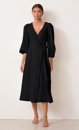 Wrap Dresses V-Neck Cropped Plain Cotton Medium