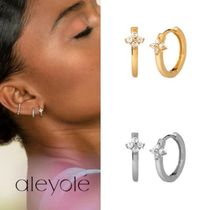aleyole Casual Style Silver 18K Gold Elegant Style Earrings