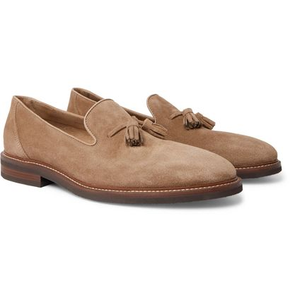 Moccasin Loafers Suede Tassel Street Style Plain Leather