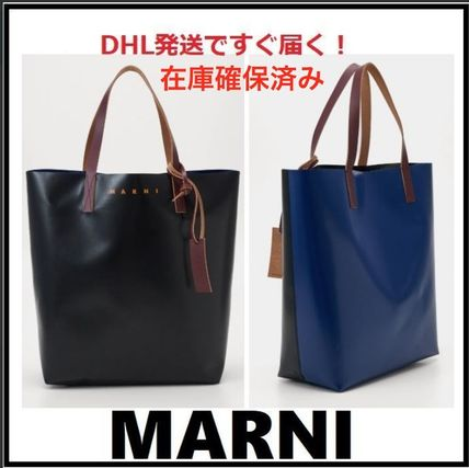MARNI Unisex Street Style A4 Bi-color Plain Leather Logo Totes