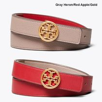 Tory Burch Plain Leather Office Style Elegant Style Logo Belts