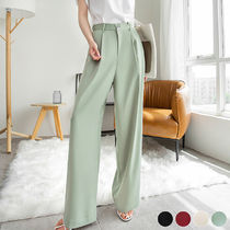 Plain Long Office Style Elegant Style Pants