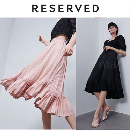 Casual Style Pleated Skirts Medium Party Style Midi