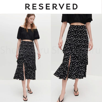 Flared Skirts Dots Casual Style Pleated Skirts Street Style