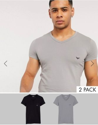 EMPORIO ARMANI Logo V-Neck Short Sleeves V-Neck T-Shirts