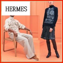 HERMES Casual Style Cashmere Silk Long Sleeves Office Style