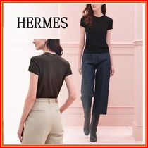 HERMES Crew Neck Casual Style Cashmere Silk Short Sleeves