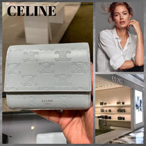 CELINE Triomphe Monogram Leather Folding Wallet Small Wallet Logo