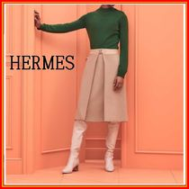 HERMES Casual Style Cashmere Long Sleeves Office Style