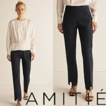 AMITIE Casual Style Plain Long Office Style Skinny Pants