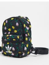 adidas Flower Patterns Casual Style Logo Backpacks