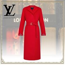 Louis Vuitton Collarless Red Wool Wrap Coat