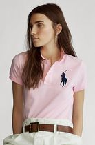 Ralph Lauren Casual Style Plain Cotton Short Sleeves Logo Polos