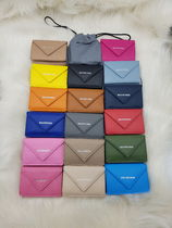 BALENCIAGA PAPIER A4 Calfskin Leather Folding Wallet Small Wallet Logo