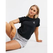 Calvin Klein Crew Neck Short Street Style Plain Cotton Short Sleeves Logo