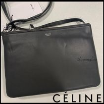 CELINE Trio Bag Casual Style Calfskin Leather Party Style Elegant Style