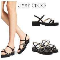 Jimmy Choo Platform Suede Studded Plain Platform & Wedge Sandals