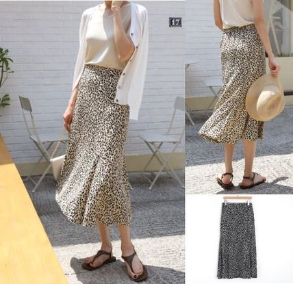 INDIBRAND Maxi Pencil Skirts Flared Skirts Leopard Patterns Casual Style
