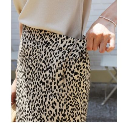 INDIBRAND Pencil Skirts Flared Skirts Leopard Patterns Casual Style
