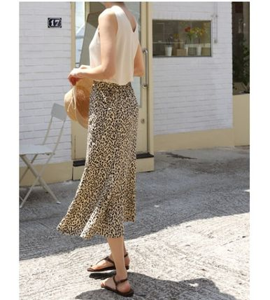 INDIBRAND Maxi Pencil Skirts Flared Skirts Leopard Patterns Casual Style 3