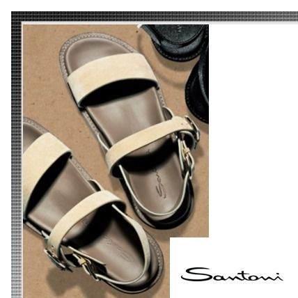 Suede Plain Leather Sandals