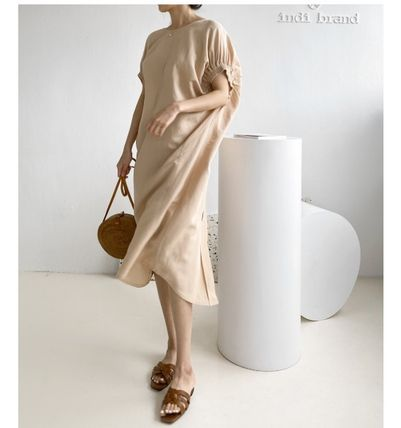 INDIBRAND Casual Style Linen U-Neck Plain Long Party Style