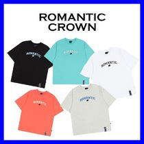 ROMANTIC CROWN Unisex Street Style Cotton Short Sleeves Logo T-Shirts