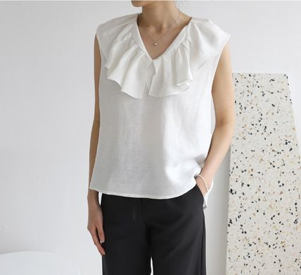 Casual Style Linen Sleeveless Plain Medium Office Style