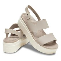 CROCS Open Toe Platform Logo Platform & Wedge Sandals