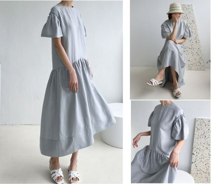 INDIBRAND Dresses Crew Neck Casual Style Maxi Linen Flared Plain Long