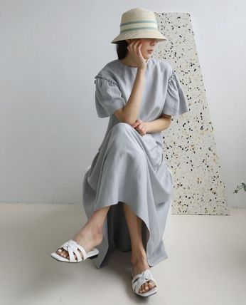 INDIBRAND Crew Neck Casual Style Maxi Linen Flared Plain Long