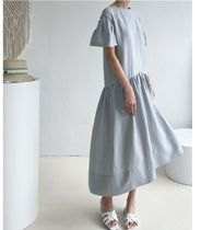 INDIBRAND Dresses Crew Neck Casual Style Maxi Linen Flared Plain Long 4