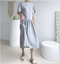 INDIBRAND Dresses Crew Neck Casual Style Maxi Linen Flared Plain Long 5