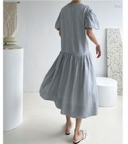 INDIBRAND Dresses Crew Neck Casual Style Maxi Linen Flared Plain Long 6
