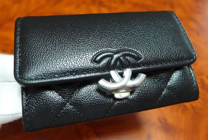 CHANEL ICON Unisex Leather Folding Wallet Small Wallet Card Holders