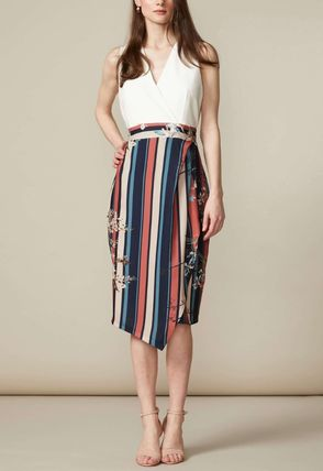 Wrap Dresses Stripes Flower Patterns Casual Style Sleeveless